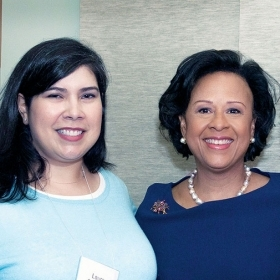 President Paula Johnson with two members of the Wellesley Club of Northern Califormia