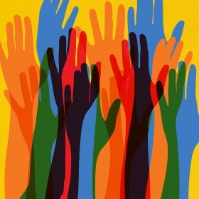"An illustration shows a group of hands being raised, as if to say ""Me, too."""