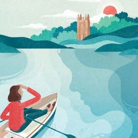 illustration of a woman in a row boat on Lake Waban, looking toward Galen Stone Tower