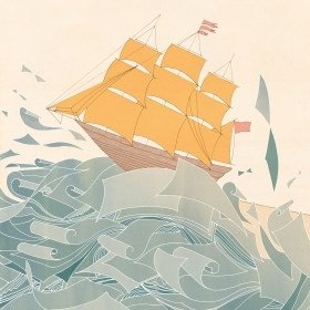 An illustration of Emily Dickinson writing on pieces of paper that turn into an ocean on which a schooner sails