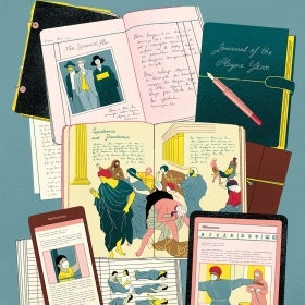 Illustration of diaries from pandemics throughout history, on paper and iPad and phone