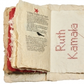 A photo of the handmade artist's book, Mending the Stars & Stripes