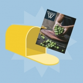 Illustration of a mailbox with the spring issue of Wellesley magazine in it