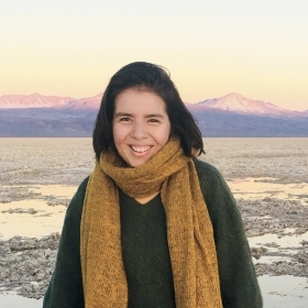A photo portrait of Anani Galindo '19 standing in a mountainous landscape in Chile