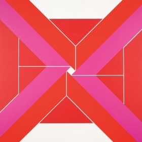 Inward Longing, a large square composition that features an array of trapezoids, in deep pinks and bright reds, that converge, but remain just out of alignment, to articulate a small, bright white square at the center of the canvas.