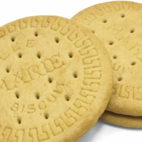 "Photograph of two ""Marie Biscuits"", aka vanilla cookies"