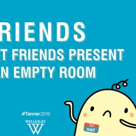 "A poster advertising Tanner says, ""Friends don't let friends present to an empty room"""