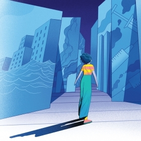 Illustration of a woman walking through a maze of images related to news (flooding, pollution, vaccines)