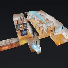 A digital recreation of a floor of the Davis museum