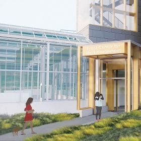 A rendering of Wellesley's new Camilla Chandler Frost '47 Center for the Environment