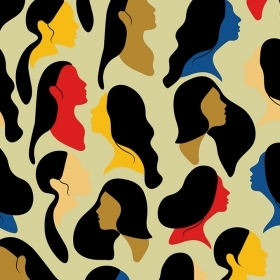 An illustration shows profiles of women's faces in many colors.
