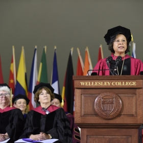 President Paula Johnson addresses the gathered students, faculty, staff, and families and friends of the class of 2018.