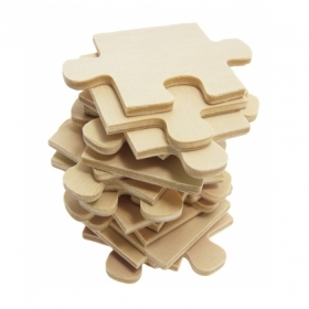 A stack of blank puzzle pieces
