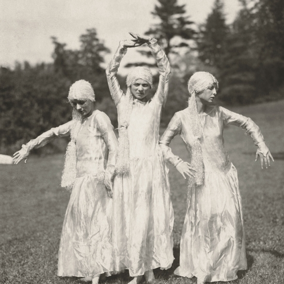 In 1926, three students dressed in flowing costumes perform a dance during Tree Day celebrations.